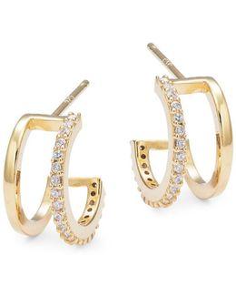 Stone-accented Sterling Silver Huggie Hoop Earrings