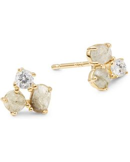Stone-accented Sterling Silver Cluster Stud Earrings