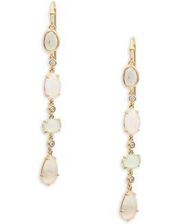 Stone Accented Linear Drop Earrings