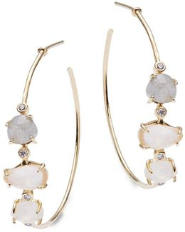 Faceted Stone Accented Hoop Earrings- 1.25""