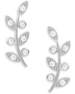 Stone-accented Sterling Silver Leaf Stud Earrings