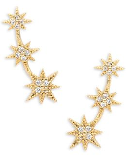 Stone-accented Star Climber Earrings