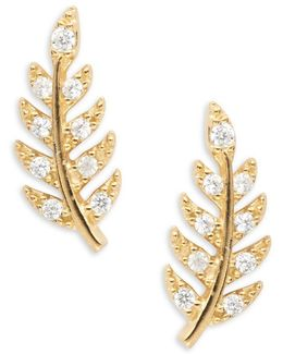Crystal Accented Leaf Stud Earrings