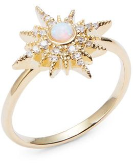 Pave Opal Starburst Ring