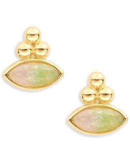 Stone Accented Stud Earrings