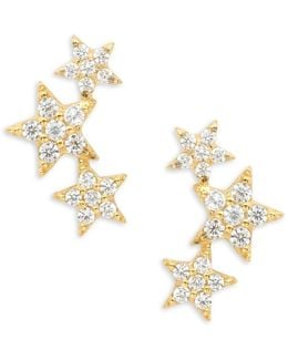 Pave Star Crawler Earrings