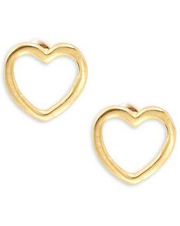 Open Heart Goldtone-plated Sterling Silver Stud Earrings