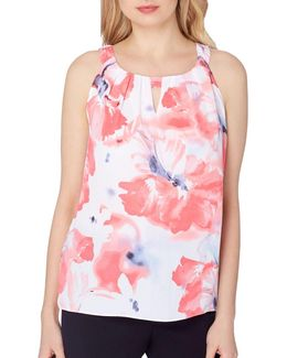 Plus Sleeveless Floral Top