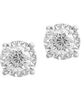 Pave' Classica Diamond & 14k White Gold Stud Earrings