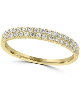 D'oro Diamond & 14k Yellow Gold Ring