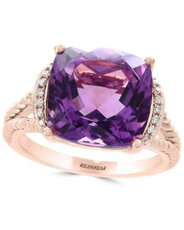 Viola Amethyst, Diamond And 14k Rose Gold Split Shank Ring