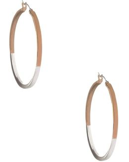 Basic Two-tone Round Hoop Earrings/2""