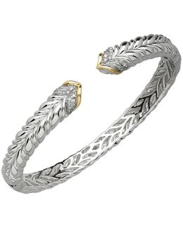 Diamond, Sterling Silver And 14k Yellow Gold Bangle Bracelet