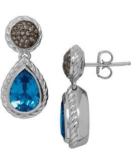 Blue Topaz, Brown Diamond And Sterling Silver Drop Earrings