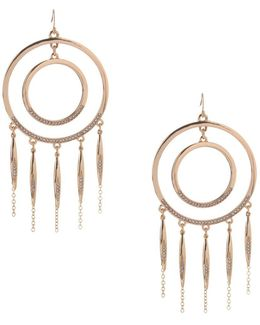 Glass Double-circle Drop Earrings