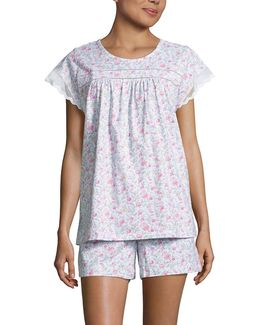 Floral Mesh-accented Pajamas