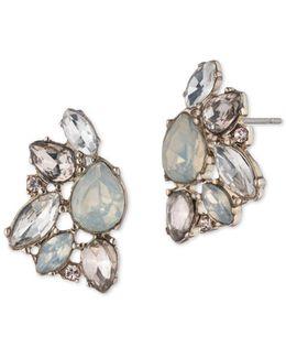 Opal Cluster Button Earrings