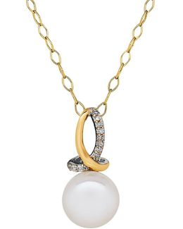 8/8mm White Pearl, Diamond, 14k Yellow Gold And Sterling Silver Pendant Necklace