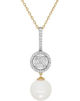 8mm - 8.5mm White Round Freshwater Pearl, Diamond And 14k Gold Pendant Necklace, 0.268 Tcw