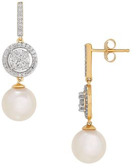 8.0-8.5mm White Round Freshwater Pearl, Diamond And 14k Gold Earrings, 0.504 Twc