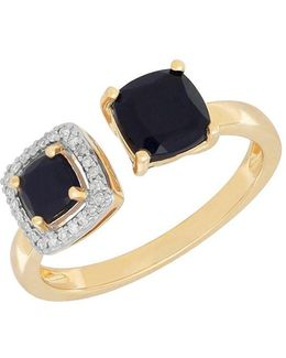 Onyx, Diamond And 14k Yellow Gold Ring