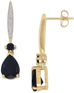14k Yellow Gold And Onyx Diamond Drop Earrings