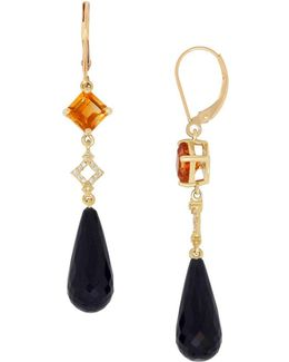 Onyx, Citrine And 14k Yellow Gold Drop Earrings