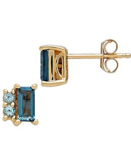 Blue Topaz And 14k Yellow Gold Stud Earrings