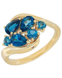Swiss Blue Topaz, London Blue Topaz And 14k Yellow Gold Ring
