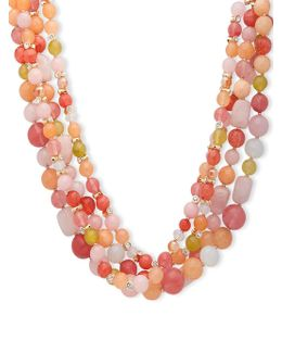 Drama Torsade Crystal Studded & Beaded Necklace