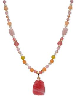 Crystal Studded & Beaded Pendant Necklace