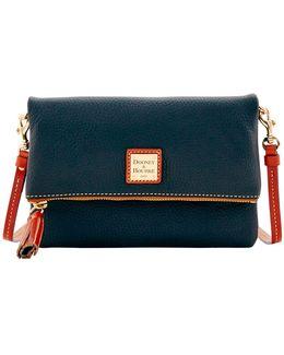 Pebble Grain Leather Foldover Zip Crossbody Bag