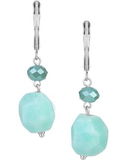 Semi-precious Amazonite Double Bead Drop Earrings