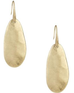 Goldtone Large Paddle Drop Earring