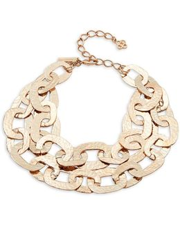 Hammered Chain-lined Layer Necklace