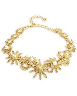 Sun Star Faux Pearl Statement Necklace