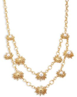 Sun Star Faux Pearl Layer Necklace