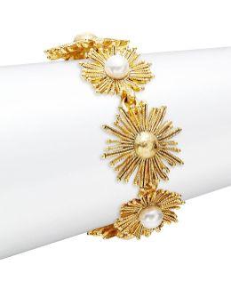 Sun Star Faux Pearl Toggle Bracelet