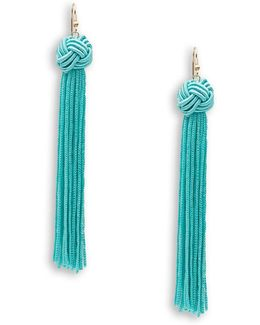 Braided Knot Tassel Drop Earrings