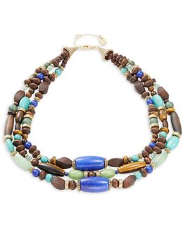 Fashion Reconstituted And Semi-precious Beaded Multi-row Necklace