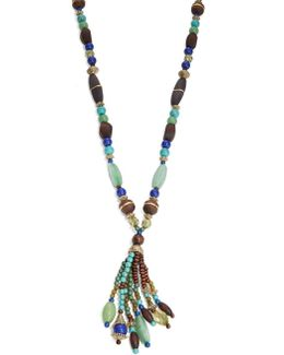 Fashion Semi-precious Beaded Tassel Necklace