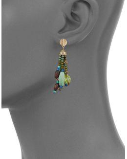 Beaded And Semi-precious Stone Tassel Pierced Earrings