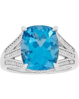 Swiss Blue Topaz, Diamond And Sterling Silver Ring