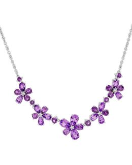 Diamond, Sterling Silver And Amethyst Necklace