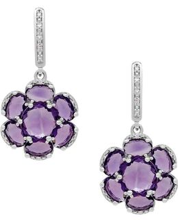Amethyst, Diamond And Sterling Silver Floral Drop Earrings
