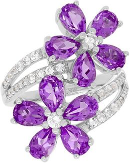 Sterling Silver, White Topaz And Amethyst Ring