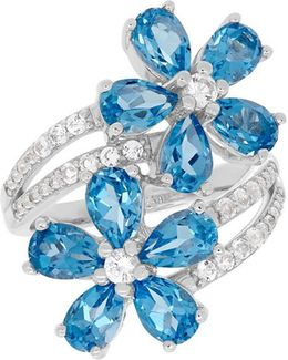Swiss Blue Topaz, White Topaz And Sterling Silver Floral Ring