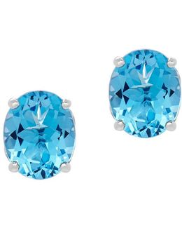 Swiss Blue Topaz And Sterling Silver Oval Stud Earrings