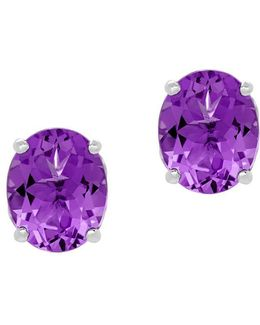 Amethyst And Sterling Silver Oval Stud Earrings