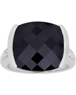 Diamond, Sterling Silver And Onyx Cushion Ring